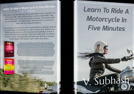 Mockup image of the 'Learn To Ride A Motorcycle' book