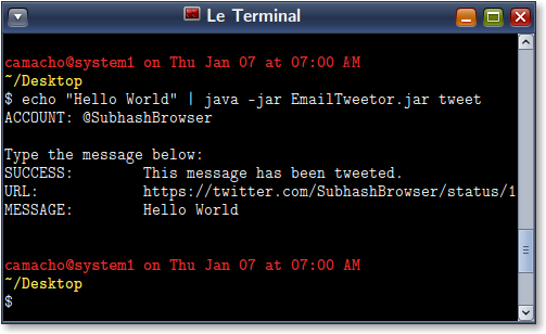 Tweeting from the command line